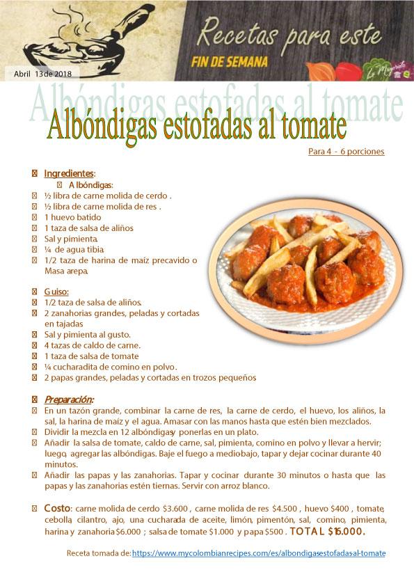 Albóndigas estofadas al tomate