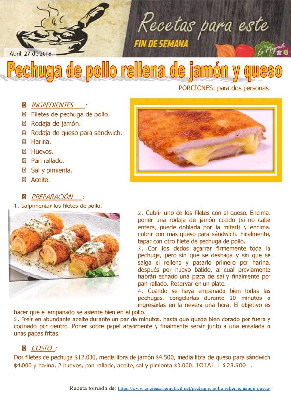 Pechuga de pollo rellena de jamón y queso